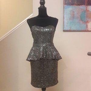 Baby Phat/ Sheer Top/ Sequin/Peplum Dress